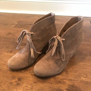Dolce Vita Tan Lace-up Suede Booties
